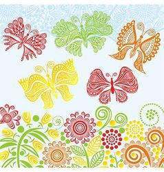 Floral pattern background with beautiful butterfly vector image