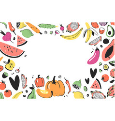 frame with hand drawn vegetables fruits artistic vector image