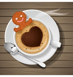 ginger bread soak in cup of hot cappuccino vector image