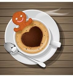 Ginger bread soak in cup of hot cappuccino vector