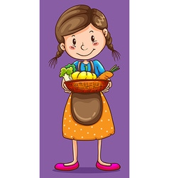 Girl holding basket of vegetables vector