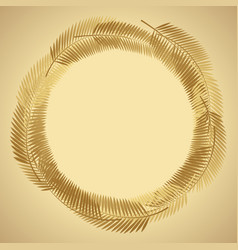 gold palm leaf background vector image