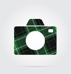 Green black tartan isolated icon - camera vector