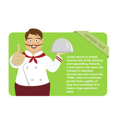 green blank board with cute male chef vector image