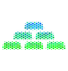Halftone blue-green treasure bricks icon vector