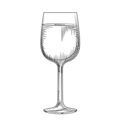 Hand drawn full wine glass sketch isolated on vector