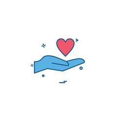 hand heart love valentine icon design vector image