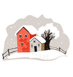 Houses and trees covered with snow winter vector