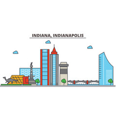 Indiana indianapoliscity skyline architecture vector