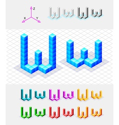 Isometric font from the cubes Letter W vector