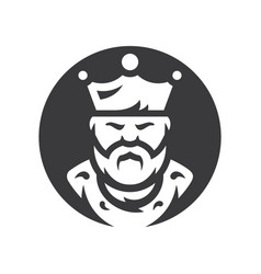king bearded man silhouette sign vector image
