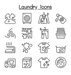 laundry icon set in thin lline style vector image