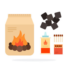Means for ignition fire for a barbecue flat vector