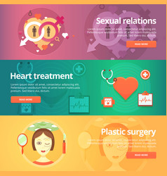 medical and health banners set sexology heart vector image