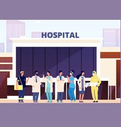 medical team hospital building professional vector image