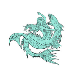 Mermaid grappling with sea serpent drawing color vector