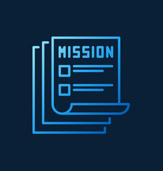 mission documents blue outline icon vector image