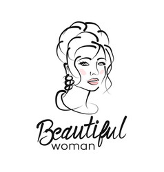 modern beautiful woman logo vector image