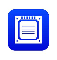 modern multicore cpu icon digital blue vector image