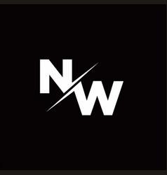 Nw logo letter monogram slash with modern logo vector