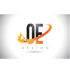Oe o e letter logo with fire flames design and vector