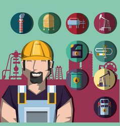oil industry with worker and factory icons vector image