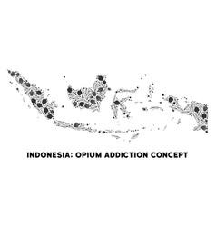 Opium drugs indonesia map mosaic vector