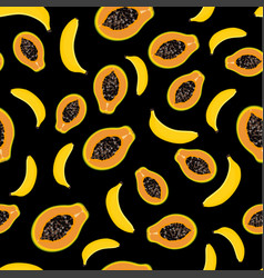 pattern with papaya and banana vector image