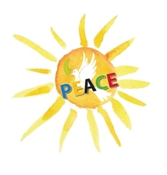 Peace dayWhite pigeonwatercolor sun vector