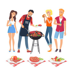 People on bbq party icons vector