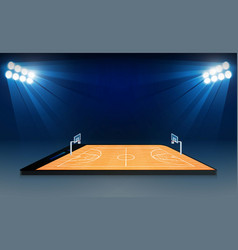 Phone on basketball arena field with bright vector