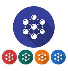 round icon of nanotechnology concept flat style vector image