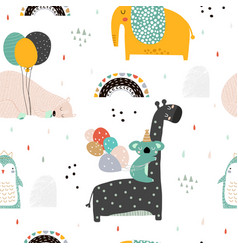 Seamless childish pattern with party animals vector