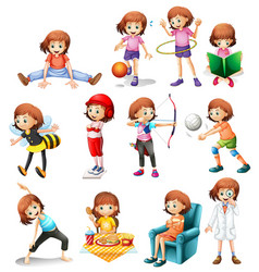 set cute girl with various activity vector image
