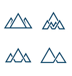set mountains logo logo in line style vector image