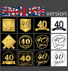 set of number 40 templates vector image
