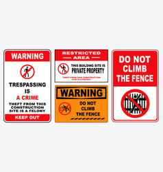 Set of trespassing prohibition sign vector