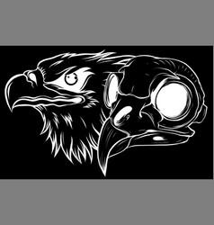 silhouette mascot head an eagle vector image