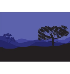 Silhouettes of shade trees at the night vector