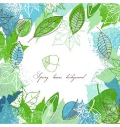 Spring leaves frame vector