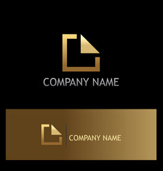 Square line gold business logo vector