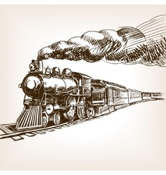 Steam locomotive hand drawn sketch vector image