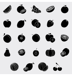 Sweet fruits silhouette vector image