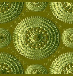 textured green 3d greek knitted seamless pattern vector image