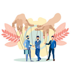 The hands puppeteer manage businessmen in vector