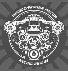 Turbocharging racing engine - power motor emblem vector