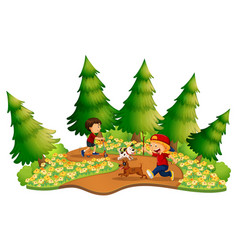 Two boys play in the park vector