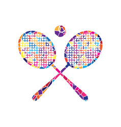 two tennis racket with ball sign stained vector image