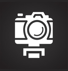 Video blogger equipment icon on black background vector