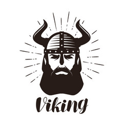 viking logo or label portrait of bearded man vector image